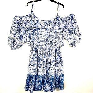 Eliza J cinched waist cold shoulder boho dress NWT